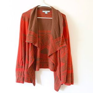 Flying Tomato Red and Brown Cardigan wrap